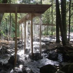 """Working with fellow architect Emil Yusta & carpenter Thorsten Fischer, """"French architect Louis Sicard created the Bridal Veil, a breathtaking water curtain installation that zigzags through the woods in France's Sancy region."""" Quoted from link Forest Landscape, Urban Landscape, Landscape Art, Landscape Design, Water Curtain, Timber Structure, Water Walls, Design Blog, Land Art"""