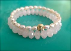 Heart Stack - Pearl and Rose Quartz Bracelet - $130