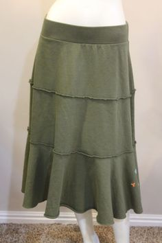 Rip-Curl-Medium-Green-Tiered-Embroidered-Casual-Skirt