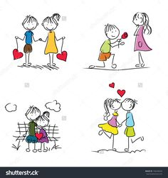 cute cartoon couple doodle with red heart shape