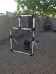 DIY pitching screen, reversible for right or left-handed pitching. BigAl Baseball design specs.