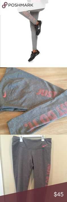 """BRAND NEW!! Nike training """" Just Do It"""" legwear Brand New without tags. Never worn! Stylish and functional light grey with coral pink lettering  PRODUCT FEATURES Elastic waistband Waistband is tilted up in back for enhanced coverage Triangle-shaped gusset allows for a full range of motion Dri-FIT moisture-wicking technology keeps you dry Flat seams feel smooth against your skin """"Just do it"""" graphic print FIT & SIZING 28-in. approx. inseam Tight fit hugs your body for a locked-in feel…"""