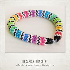 Hexafish Rainbow Loom Bracelet cotillons par KaylaMarieLoomDesign