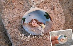 Little yellow mermaid in a shell by LisaCreations by LisaCreations.deviantart.com on @deviantART