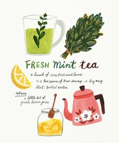 Mint is one of the very few herbs that continues to flourish during the cooler months and is also super easy to grow- yay! 🙌🏼 Pick a bunch of homegrown mint and try this easy tea recipe to warm your insides during the cooler nights 🍵🌿 Fresh Mint Tea, Illustration Inspiration, Tea Illustration, Portrait Illustration, Illustrator, Buch Design, Food Illustrations, Tea Recipes, Food Art
