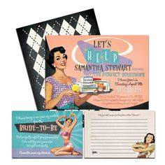62c314dc9eb6 Retro fifties housewife bridal shower invitation. Come with recipe card and  panty game card.
