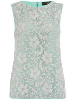 Mint lace silver shell top, $29
