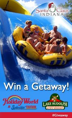 Win tickets to Holiday World & Splashin' Safari, overnights at Lake Rudolph Campground & RV Resort, horseback riding at Santa's Stables, a gift certificate from Santa Claus Museum & Village, admission to Lincoln Pioneer Village & Museum, and tickets to any Lincoln Amphitheatre production.