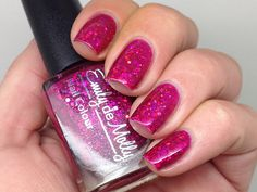 "Nail polish - ""Fashion Victim"" pink holographic glitter in a pink jelly base from EmilydeMolly on Etsy"