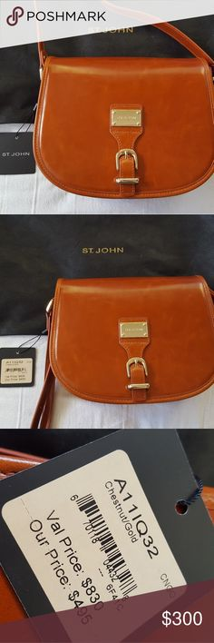 NWT Authentic St John Chestnut Leather Saddlebag Chestnut/Gold Leather St John Saddlebag with cross body strap. NWT never been used, straight from manufacturer in amazing condition with micro imperfections. As you can see in the pics they are unnoticeable. St. John Bags Crossbody Bags