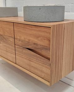 The Oak Vanity from Ingrain. Solid Tasmanian Oak with a fabulous finger pull detail. Timber Supplies, Recycled Timber Furniture, Timber Vanity, Cladding Materials, Wall Taps, Drawer Runners, Vanity Design, Bathroom Pictures, Bathroom Ideas