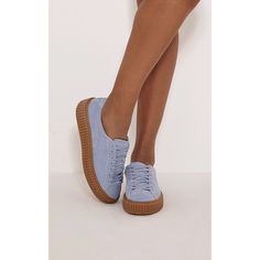 Cia Baby Blue Faux Suede Creeper Trainers ($20) ❤ liked on Polyvore featuring shoes, sneakers, blue, sport shoes, low platform shoes, baby blue shoes, platform sneakers and sport sneakers