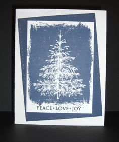 Peace Love Joy:  Winter Evergreen-Hero Arts; Sentiment-CL343 Hero Arts; Stitched Rectangle-Lil' Inker Designs; Hero Arts Shadow Ink, Navy mid-tone.