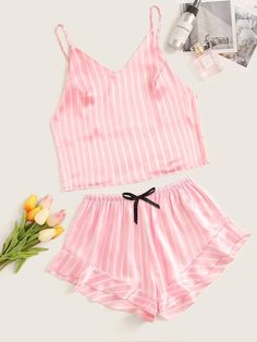 Shein Striped Satin Cami With Ruffle Shorts , Cute Pajama Sets, Matching Pajamas, Cute Pajamas, Cute Sleepwear, Lingerie Sleepwear, Nightwear, Pajama Outfits, Cute Outfits, Night Pajama