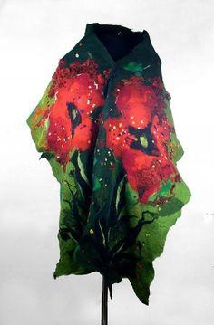 Felted Scarf Nunofelt Scarf Green Wrap Silk Scarves wild Felt Nunofelt Nuno felt Silk Silkyfelted Eco Rainbow fairy multicolor floral shawl Fiber Art
