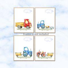 Transportation wall art, tractor transport Nursery art, truck Nursery poster print, Baby Boy Nursery Decor, Children Art Print Set of 4 by irinnadesign on Etsy