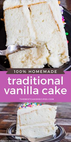 Looking for a vanilla cake recipe? This homemade white cake is kept fluffy by folding in whipped egg whites. It has a velvety texture and is great as a layer cake! Homemade White Cakes, Homemade Vanilla Cake, Homemade Cake Recipes, One Layer Cakes, Layer Cake Recipes, Sheet Cake Recipes, White Sheet Cakes, Vanilla Sheet Cakes, Delicious Vanilla Cake Recipe