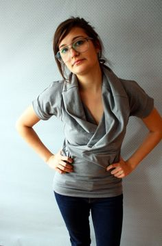 This Grey Cowl Tee / by Replicca / size Medium by replicca on Etsy