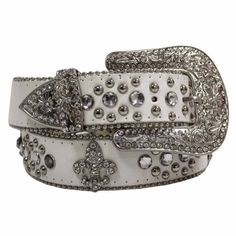 White Fleur Di Lis Rhinestone Western Bling Belt Size Small / Medium Luxury Divas. $24.84. Save 25%!