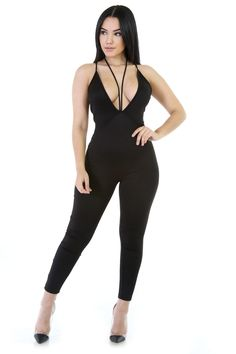 c01622415e Strappy Lady Stretchy Jumpsuit M BLACK     Visit the image link more  details. (It is Amazon affiliate link)  JumpsuitsForWomen