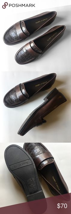 "Franco Sarto Brown Valera Loafer Slip On * Thoughtful stitching * Tonal strap * 1 inch heel * Oxford brown leather * Man made uppers * Very minimal wear to sole  Color: Brown  Size: 9.5 M  Condition: Like new condition  Material: Genuine leather  Measurements: 11.25"" x 3.75""  No stains, rips, tears 