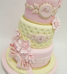 Amazing Pastel Gold Pearls & Quilting Birthday Cake