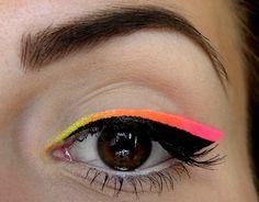 Neon Yellow and Pink Eye Makeup