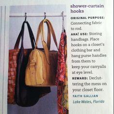 Shower curtain hooks as purse storage