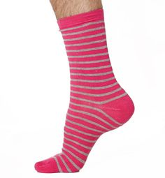 Gents, want to add a little zing to your sock drawer? You can do with these stripey socks. In two suave colours, a little extra energy will be injected into your day with these colourful treats for your feet.