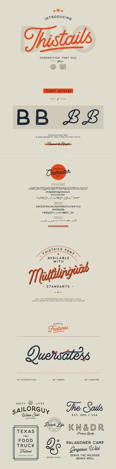 Thistails is font duo with modern vintage look design styles, available on script and Display Sans serif typeface. These two lovely fonts would be perfect to combine in your design.