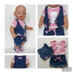 Baby Born clothes. In a set of 3 pcs. Decorated with stickers. Shoes are not included in the set. Doll not included.