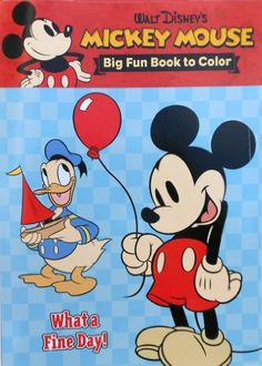 "Disney Vintage Mickey Mouse Coloring Book ""What a Fine Day!"" by Dalmatian Press, LLC. $5.48. Each 96 page book measures approximately 7.5"" x 10.75"". Delight your Disney® Mickey Mouse fan with this Mickey Mouse Coloring Book. Games, puzzles, mazes and coloring fun with favorite Disney® characters. Great gift for your favorite Mickey Mouse enthusiast! This Coloring Book will provide many hours of fun. Made in the USA. A Vintage Mickey Mouse & Minnie Mouse Coloring B..."