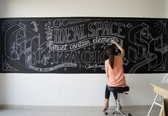 """Chalk Lettering by Gemma Roman on Behance """"The ideal space must contain elements of magic, serenity, sorcery and mystery"""" Luis Barragán. #gemmaroman #luisbarragan #chalklettering"""