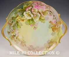 LIMOGES FRANCE HAND PAINTED ROSES CAKE PLATE CHARGER picclick.com