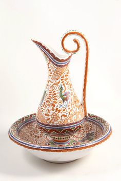 Ceramic Pottery Large Pitcher Ewer & Bowl Set Coimbra Portugal Painted…