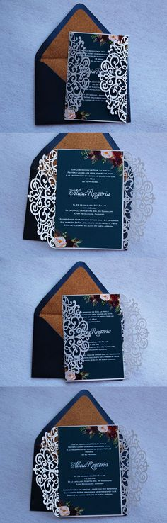 Navy blue laser cut wedding invitations, watercolor floral laser cut invitation, bohemian wedding invitations