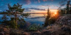 Vanajanniemi Panorama Panoramic sunset view to lake Vanajavesi, captured from the top of Vanajanniemi rocks Hämeenlinna, Finland by Lauri Lohi on Sunset Photography, Landscape Photography, Travel Photography, Panoramic Pictures, Pretty Landscapes, Landscaping Images, Best Sunset, Photos Of The Week, Pictures To Paint