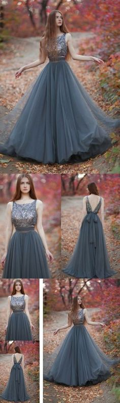 Sale A-line/Princess Evening Prom Dresses Long Grey Dresses With Backless Beaded/Beading Floor-length Easy Evening Dresses M1092