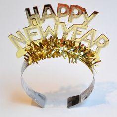 Happy New Year - Krone - Glitzer gold