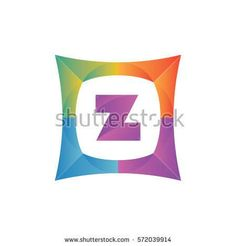 modern flat initial letter z geometric shape framing typography logo design for brand and company identity. gradient purple color