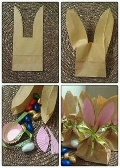 Bunny treat bags from plain brown paper bags small bits of construction paper and ribbon