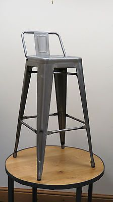 Reproduction Tolix Style Bistro Cafe High Stool w/ Back Clear Gun-metal finish & Steel Bistro High Stool with Back Rest (Pack of 4) - 4 Pack | Bar ... islam-shia.org