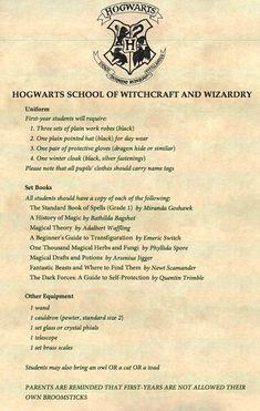 Resultado de imagen para lista de materiales  de hogwarts  en español