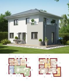 STADTVILLA MODERN * Haus Evolution 125 V7 Bien Zenker * Einfamilienhaus  Walmdach Fassade Putz Weiß Grau