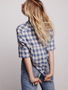 madewell courier button-back shirt worn with the b sides™ reworked jeans.