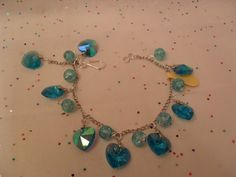 Crystal Blue Hearts Bracelet by OhEdith on Etsy, $15.00