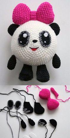 Mesmerizing Crochet an Amigurumi Rabbit Ideas. Lovely Crochet an Amigurumi Rabbit Ideas. Crochet Panda, Kawaii Crochet, Crochet Patterns Amigurumi, Cute Crochet, Crochet Dolls, Amigurumi Doll, Knitting Patterns, Crochet Flower Patterns, Crochet Flowers