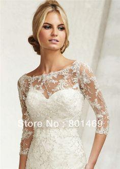 Amazing 2014 Bridal Accessory Wedding Jacket Lace Embrodiery Sheer Bridal Shawls Bolero Shrug Custom Made $15.53