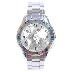 Round Stainless Steel Analogue Watch Men Man Design 49 gray world map L.Dumas #Unbranded