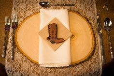 Cowboy boot place / name card cookie